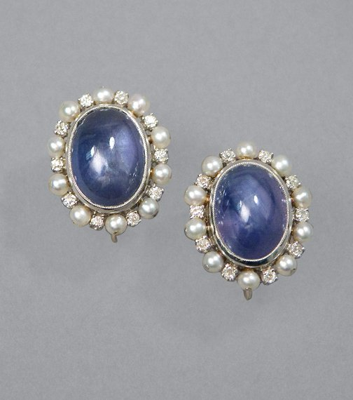 261: Pair of Star Sapphire, Diamond & Seed Pearl Earrin