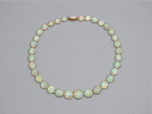 307: Opal & Rock Crystal Bead Necklace
