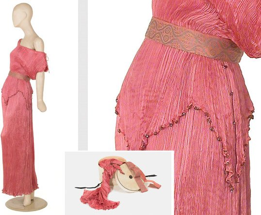 1012: Fortuny Antique Pink Peplos Gown and Box