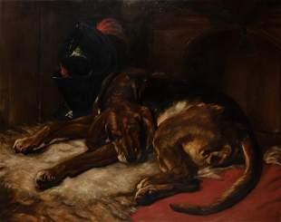 After Sir Edwin Landseer The Sleeping Bloodhound