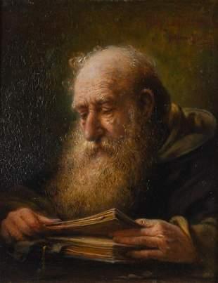 Richard Linderum German, 1851-1926 Monk Reading