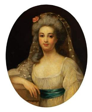 Attributed to Antoine Vestier Portrait of Lady, thought