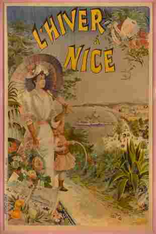 Emmanuel Brun L'HIVER A NICE Color lithograph poster