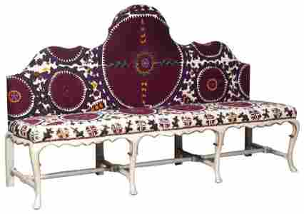 Rococo Style Suzani-Upholstered Painted and Parcel-Gilt