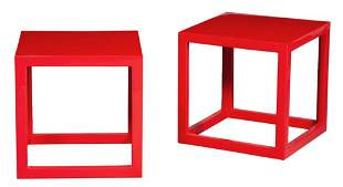 Pair of Jonathan Adler Red Lacquer Cube Occasional