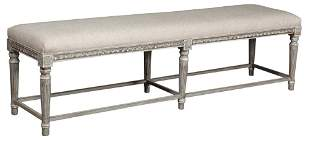 Louis XVI Style Linen-Upholstered Painted Long Bench