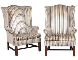 Pair of George III Style Velvet-Upholstered Mahogany