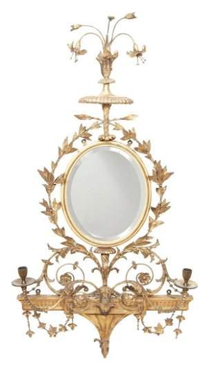 George III Style Giltwood Two-Light Girandole Mirror