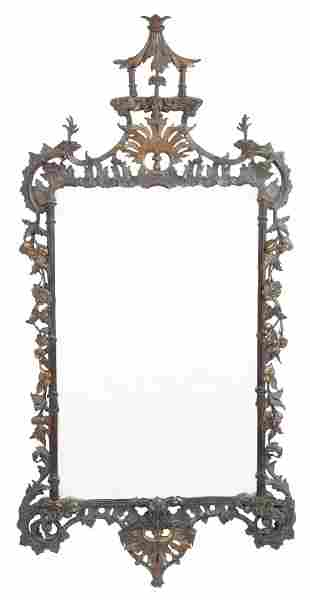 George III Style Parcel-Gilt and Stained Wood Mirror
