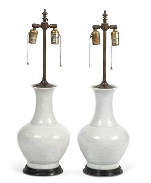 Pair of Chinese Style Enameled Porcelain Lamps