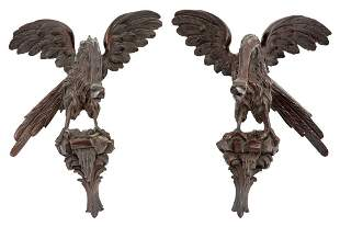 Pair of Carved Wood Bird-Form Wall Ornaments