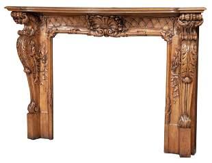 Louis XV/XVI Style Walnut Fireplace Surround