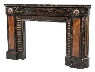 Louis XVI Style Faux Portor Marble Painted and