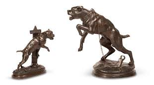 Two Patinated Bronze Figures of Dogs