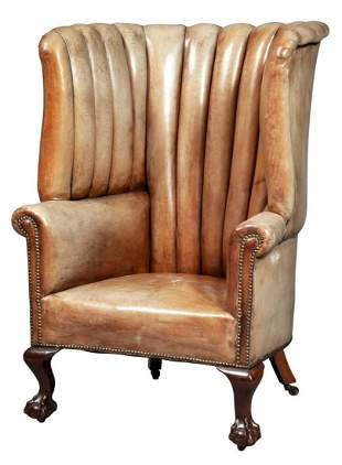 George II Style Leather-Upholstered Mahogany Wing