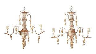 Pair of Painted, Giltwood and Metal Three-Light Sconces
