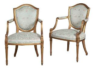 Pair of George III Style Giltwood Armchairs