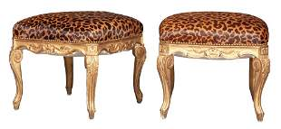 Pair of Louis XV Style Giltwood Faux