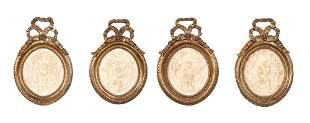 Set of Four Louis XVI Style Marble Plaques in Giltwood