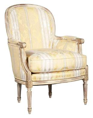 Louis XVI Style Yellow and White Stripe-Upholstered