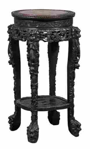 Chinese Marble Inset Carved Hardwood Stand