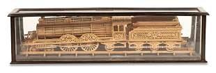 Carved Wood Model of a Locomotive