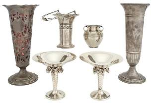 Group of American Sterling Silver Compotes and Vases