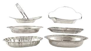 Group of American Sterling Silver Bread Trays, Baskets