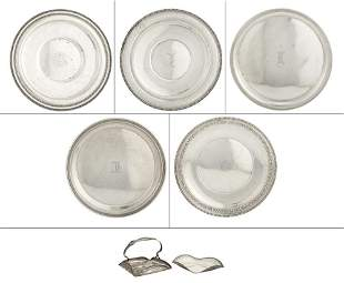 Group of Seven American Sterling Silver Trays and