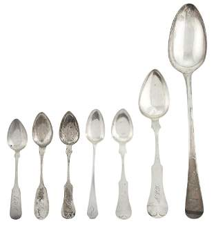 George III Sterling Silver Stuffing Spoon and Group of
