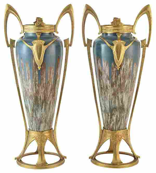 Pair of Art Nouveau Gilt-Metal Mounted Porcelain