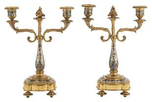 Pair of French Louis XVI Style Champlevé Enameled