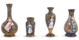 Group of Four French Enameled Metal Miniature Bud Vases
