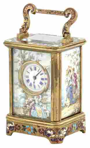 Vienna Style Enameled Metal Miniature Carriage Clock