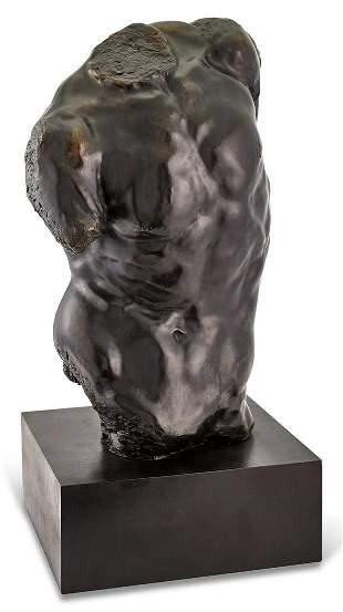 Patinated Bronze Torso of a Man
