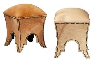 Pair of Close-Nailed Hide-Lined Storage Stools