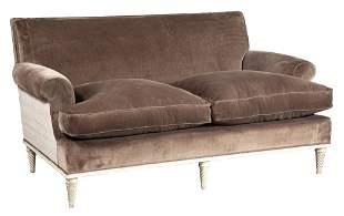 Maison Jansen Style Brown Velvet-Upholstered and