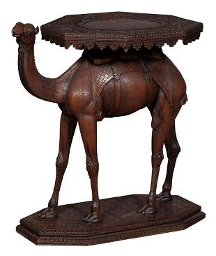 Anglo-Indian Teak Camel-Form Occasional Table