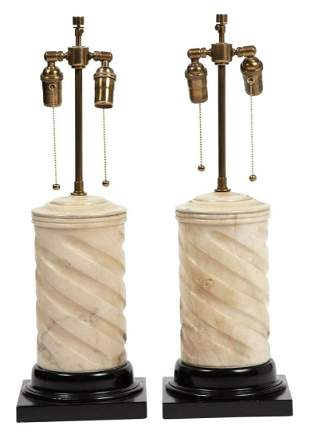 Pair of Carved Marble Lamps