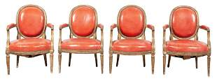 Set of Four Louis XV Style Leather-Upholstered Giltwood
