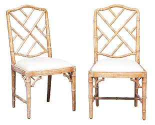 Pair of George III Style Bamboo-Turned Limed Oak Side