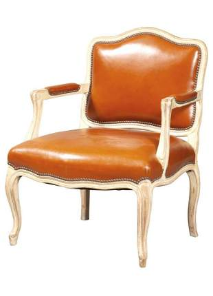 Louis XV Style Brown Leather-Upholstered Painted