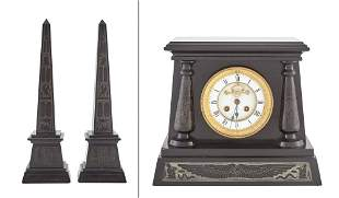 Egyptian Revival Black Marble Three-Piece Clock