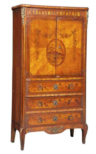 Late Louis XV Tulipwood and Marquetry Cabinet