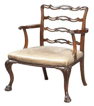 George II Style Leather-Upholstered Faux-Grained Large