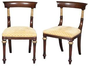 Set of Six Regency Style Mahogany and Parcel-Gilt