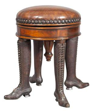 Victorian Style Walnut, Bronze and Leather-Upholstered