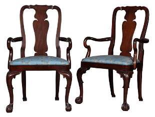 Pair of George II Style Mahogany Armchairs