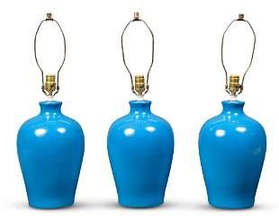 Set of Three Turquoise Glazed Ceramic Lamps