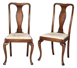 Set of Ten Queen Anne Style Walnut Chairs by Smith &